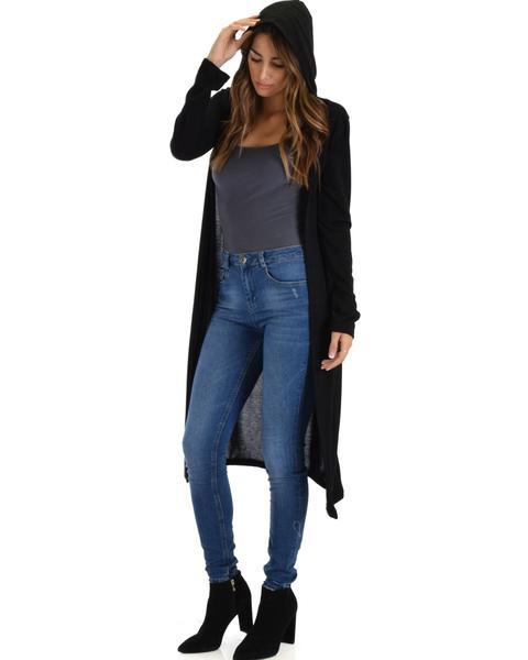 Lyss Loo Cover Me Up Long-line Black Hooded Cardigan - Jeanetteshus