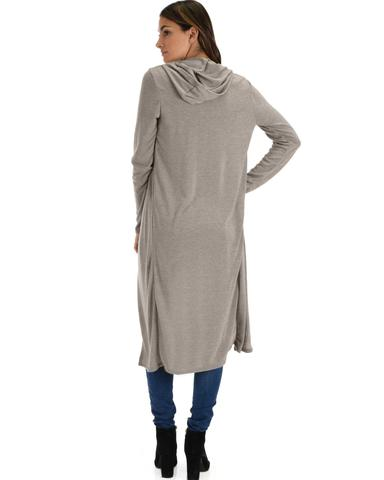 Lyss Loo Cover Me Up Long-line Grey Hooded Cardigan - Jeanetteshus