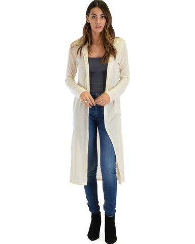 Lyss Loo Cover Me Up Long-line Ivory Hooded Cardigan - Jeanetteshus