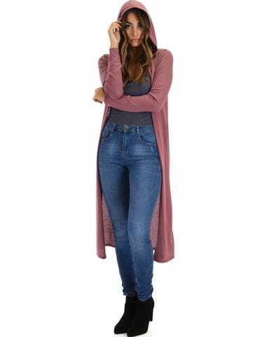 Lyss Loo Cover Me Up Long-line Marsala Hooded Cardigan - Jeanetteshus