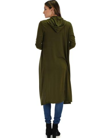 Lyss Loo Cover Me Up Long-line Olive Hooded Cardigan - Jeanetteshus