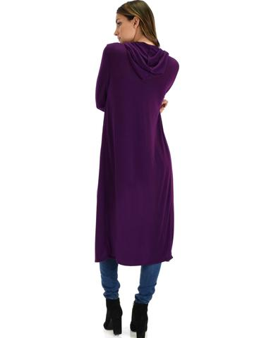 Lyss Loo Cover Me Up Long-line Purple Hooded Cardigan - Jeanetteshus