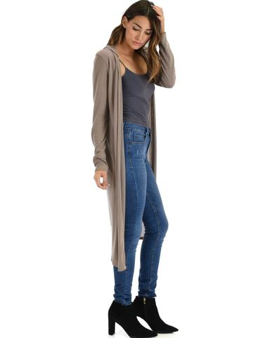 Lyss Loo Cover Me Up Long-line Taupe Hooded Cardigan - Jeanetteshus