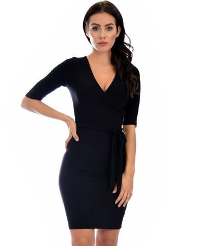 Lyss Loo Ride or Tie Bodycon Black Wrap Dress - Jeanetteshus