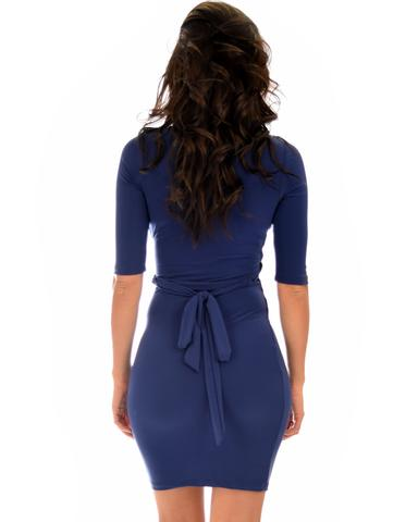 Lyss Loo Ride or Tie Bodycon Navy Wrap Dress - Jeanetteshus