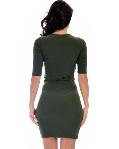 Lyss Loo Ride or Tie Bodycon Olive Wrap Dress - Jeanetteshus