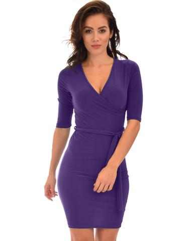 Lyss Loo Ride or Tie Bodycon Purple Wrap Dress - Jeanetteshus
