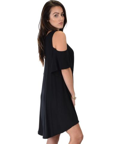 Lyss Loo Sun Kissed Cold Shoulder Draped Black Tunic Dress - Jeanetteshus