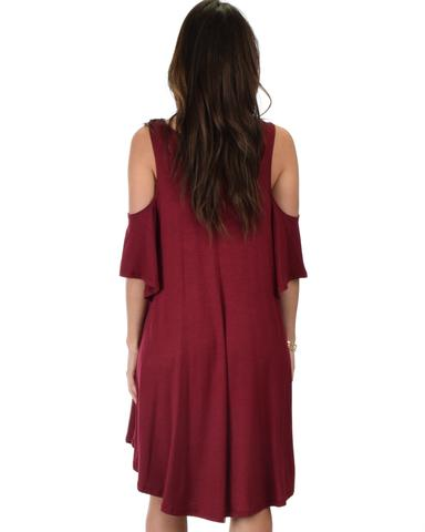 Lyss Loo Sun Kissed Cold Shoulder Draped Burgundy Tunic Dress - Jeanetteshus