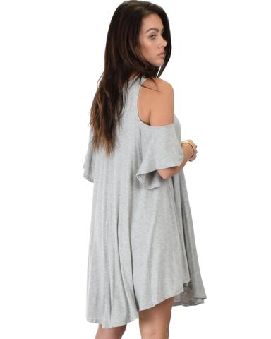 Lyss Loo Sun Kissed Cold Shoulder Draped Grey Tunic Dress - Jeanetteshus