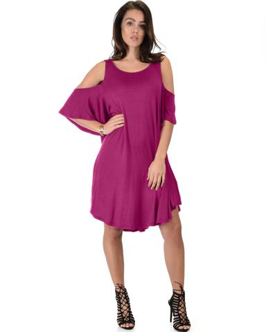 Lyss Loo Sun Kissed Cold Shoulder Draped Magenta Tunic Dress - Jeanetteshus