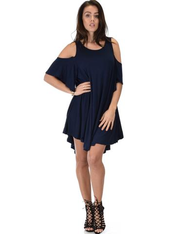 Lyss Loo Sun Kissed Cold Shoulder Draped Navy Tunic Dress - Jeanetteshus