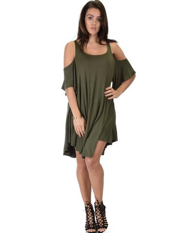 Lyss Loo Sun Kissed Cold Shoulder Draped Olive Tunic Dress - Jeanetteshus