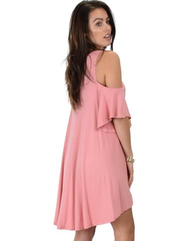 Lyss Loo Sun Kissed Cold Shoulder Draped Pink Tunic Dress - Jeanetteshus