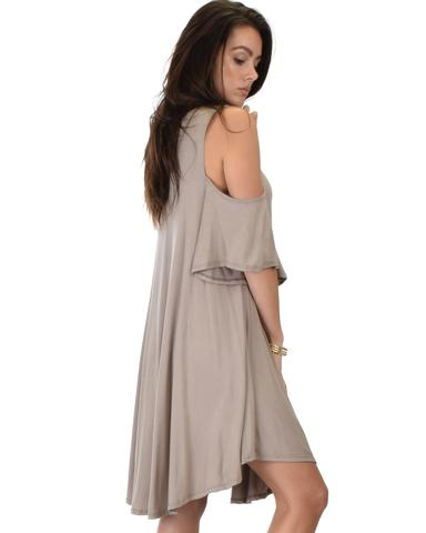 Lyss Loo Sun Kissed Cold Shoulder Draped Taupe Tunic Dress - Jeanetteshus