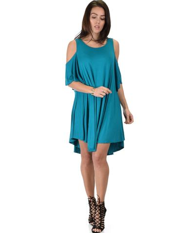 Lyss Loo Sun Kissed Cold Shoulder Draped Teal Tunic Dress - Jeanetteshus