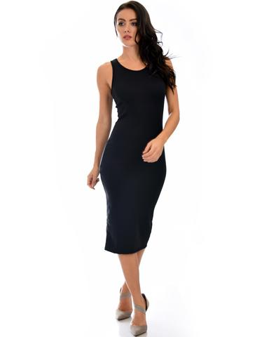 Lyss Loo Hourglass Bodycon Black Midi Dress - Jeanetteshus