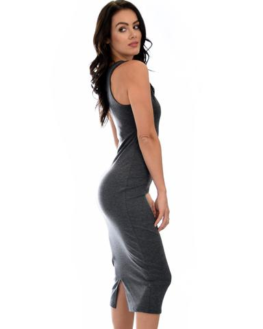 Lyss Loo Hourglass Bodycon Charcoal Midi Dress - Jeanetteshus