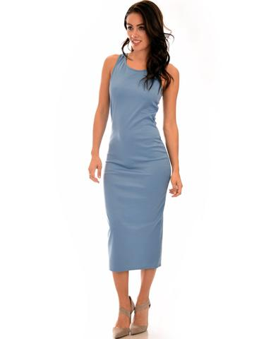 Lyss Loo Hourglass Bodycon Blue Midi Dress - Jeanetteshus