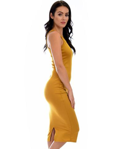 Lyss Loo Hourglass Bodycon Mustard Midi Dress - Jeanetteshus