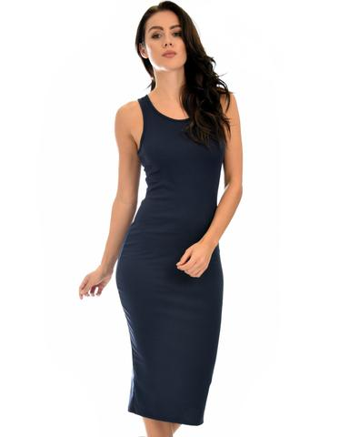 Lyss Loo Hourglass Bodycon Navy Midi Dress - Jeanetteshus