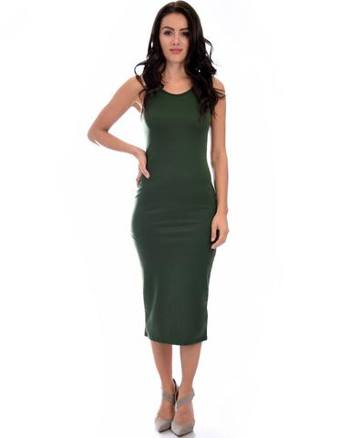 Lyss Loo Hourglass Bodycon Olive Midi Dress - Jeanetteshus