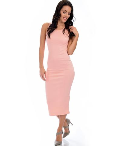 Lyss Loo Hourglass Bodycon Pink Midi Dress - Jeanetteshus