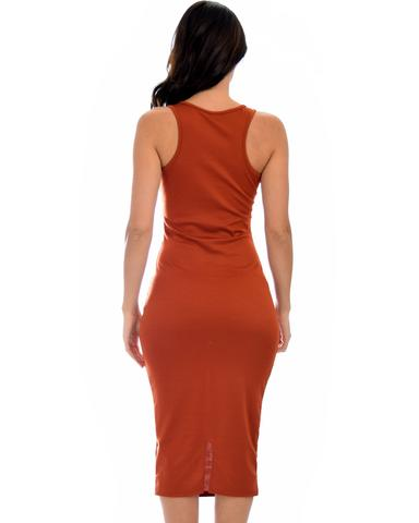 Lyss Loo Hourglass Bodycon Rust Midi Dress - Jeanetteshus