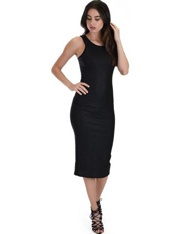 Lyss Loo Hourglass Bodycon Black Pattern Midi Dress - Jeanetteshus