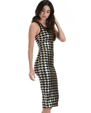 Lyss Loo Hourglass Bodycon Silver Pattern Midi Dress - Jeanetteshus
