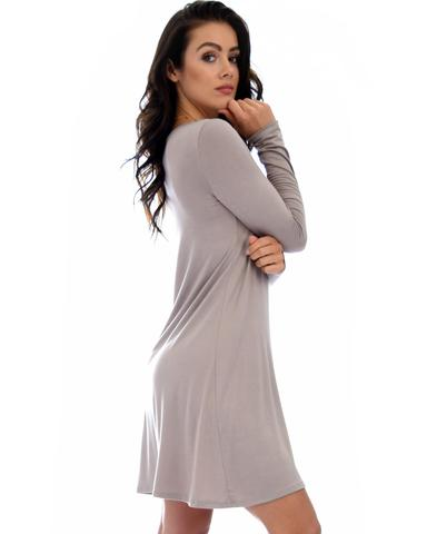 Lyss Loo Shift & Shout Long Sleeve Taupe Tunic Dress - Jeanetteshus