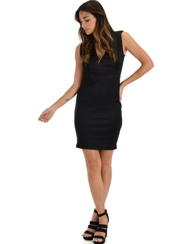 Lyss Loo Cocktail Hour V-Neck Black Bodycon Dress - Jeanetteshus