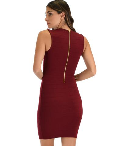 Lyss Loo Cocktail Hour V-Neck Burgundy Bodycon Dress - Jeanetteshus