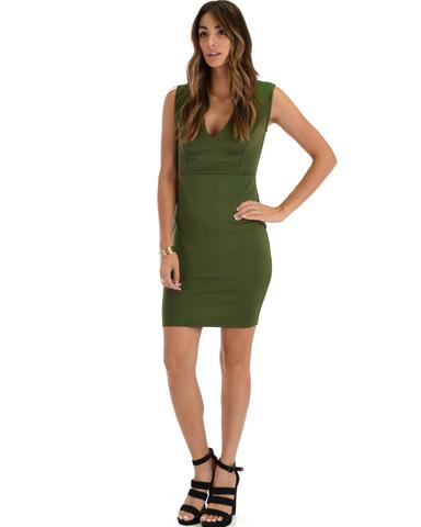 Lyss Loo Cocktail Hour V-Neck Olive Bodycon Dress - Jeanetteshus