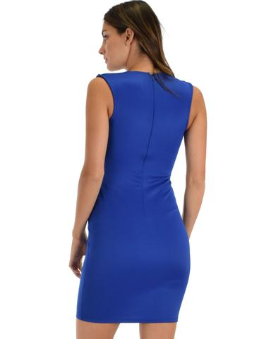 Lyss Loo Cocktail Hour V-Neck Royal Bodycon Dress - Jeanetteshus