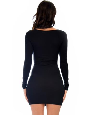 Lyss Loo Comeback Baby Long Sleeve Black Bodycon Dress - Jeanetteshus