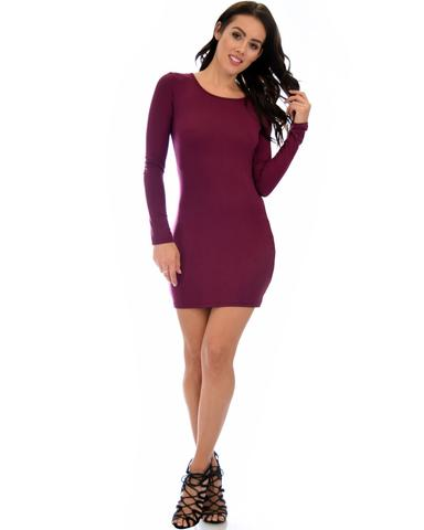 Lyss Loo Comeback Baby Long Sleeve Burgundy Bodycon Dress - Jeanetteshus