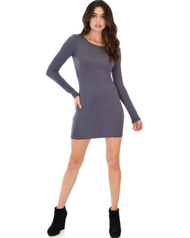 Lyss Loo Comeback Baby Long Sleeve Charcoal Bodycon Dress - Jeanetteshus
