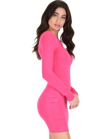 Lyss Loo Comeback Baby Long Sleeve Fuschia Bodycon Dress - Jeanetteshus