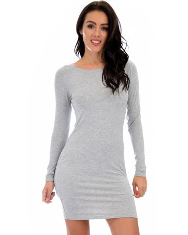 Lyss Loo Comeback Baby Long Sleeve Grey Bodycon Dress - Jeanetteshus