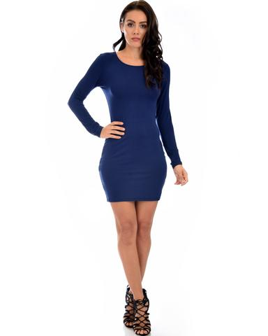 Lyss Loo Comeback Baby Long Sleeve Navy Bodycon Dress - Jeanetteshus