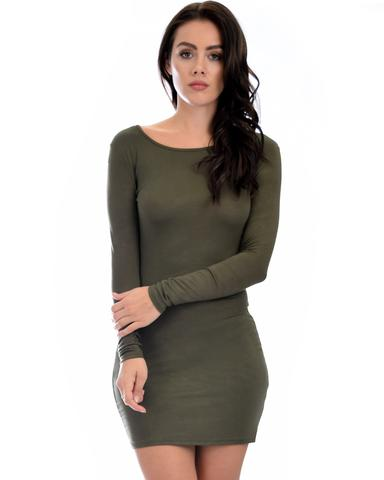 Lyss Loo Comeback Baby Long Sleeve Olive Bodycon Dress - Jeanetteshus