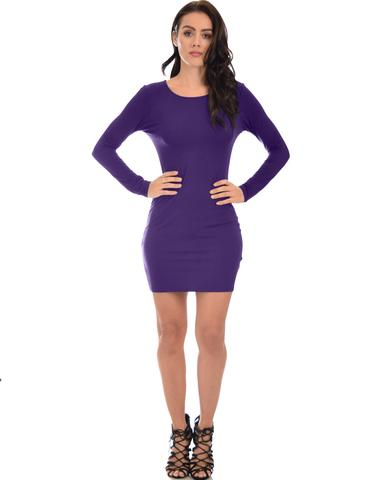Lyss Loo Comeback Baby Long Sleeve Purple Bodycon Dress - Jeanetteshus