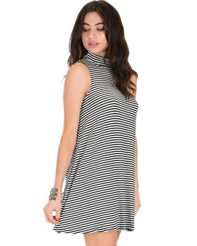 Lyss Loo Olivia Tank Striped Black Shift Dress - Jeanetteshus