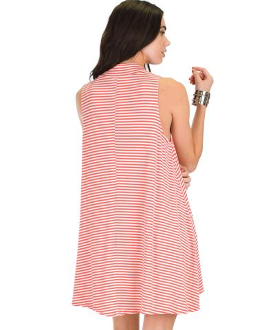 Lyss Loo Olivia Tank Striped Coral Shift Dress - Jeanetteshus