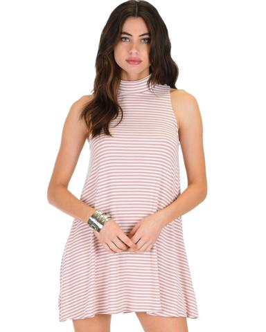 Lyss Loo Olivia Tank Striped Mauve Shift Dress - Jeanetteshus