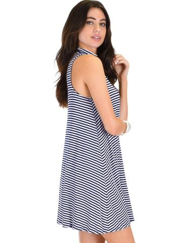Lyss Loo Olivia Tank Striped Navy Shift Dress - Jeanetteshus