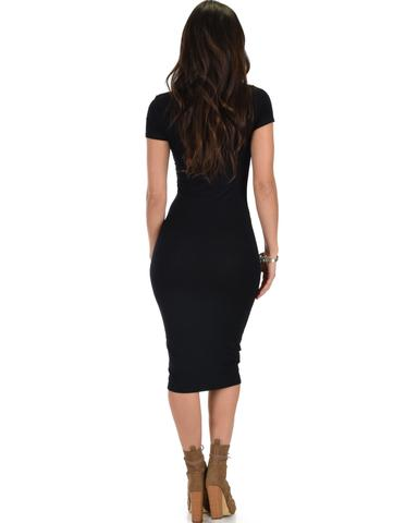Lyss Loo Along The Lines Bodycon Black Midi Dress - Jeanetteshus