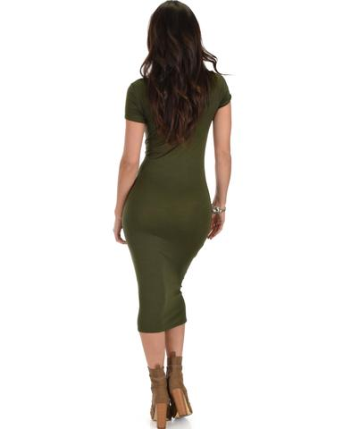 Lyss Loo Along The Lines Bodycon Olive Midi Dress - Jeanetteshus