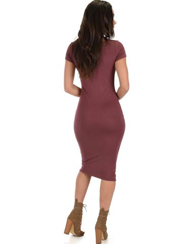 Lyss Loo Along The Lines Bodycon Marsala Midi Dress - Jeanetteshus